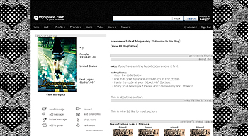 zebra hearts default myspace layouts